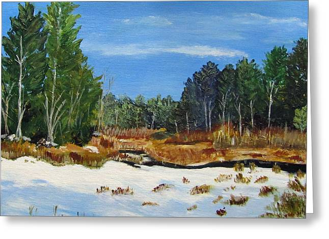 Winter Marsh In Hooksett Greeting Card