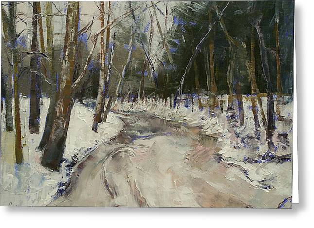 Winter Creek Greeting Card by Michael Creese