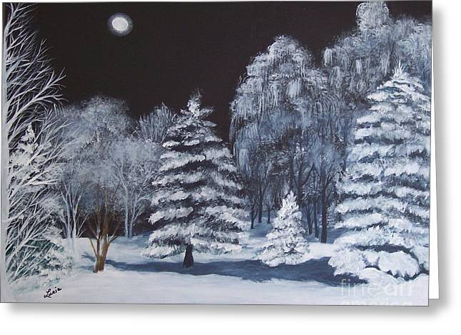 Winter Moonlight In The Country Greeting Card