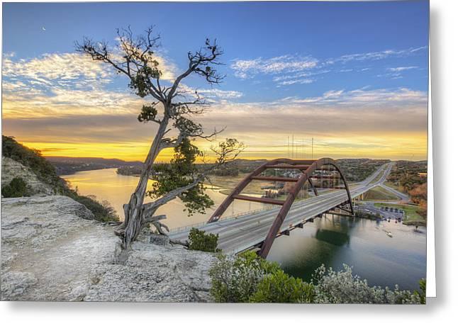 Winter Moonrise Over The 360 Bridge In Austin Texas Greeting Card