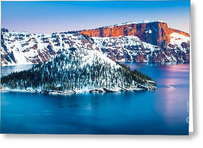 Winter Morning At Crater Lake Greeting Card by Inge Johnsson