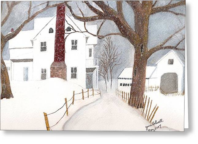 Winter Morning At The Big White House Greeting Card by June Holwell