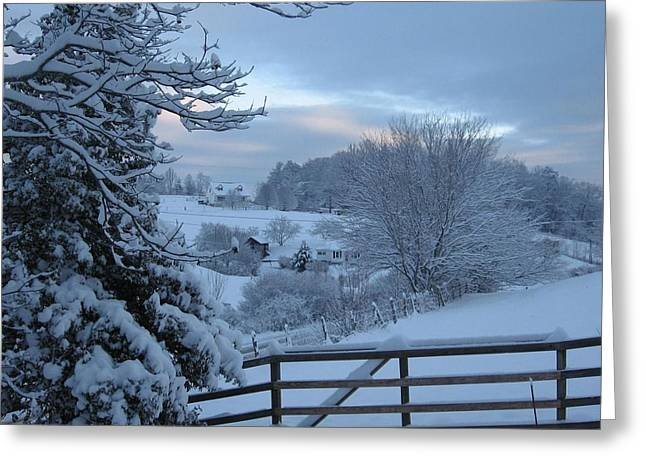 Blue Ridge Mountain Snowy Morning Greeting Card