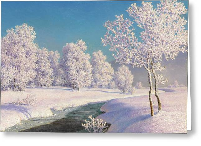 Winter Morning In Engadine Greeting Card by Ivan Fedorovich Choultse