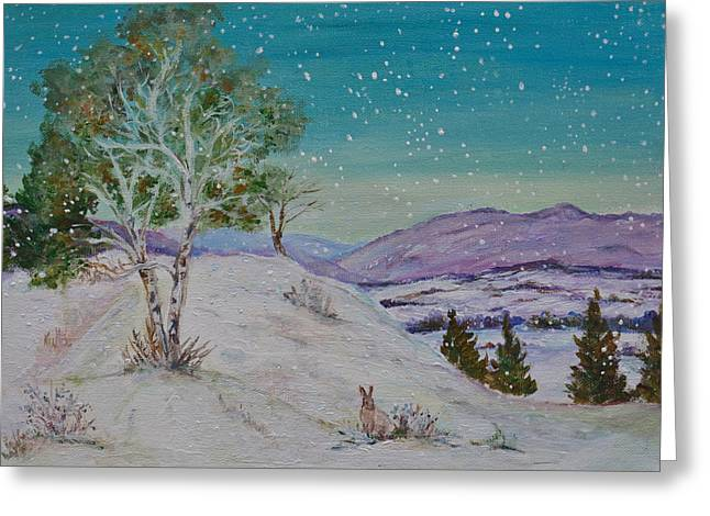 Winter Mountains With Hare Greeting Card