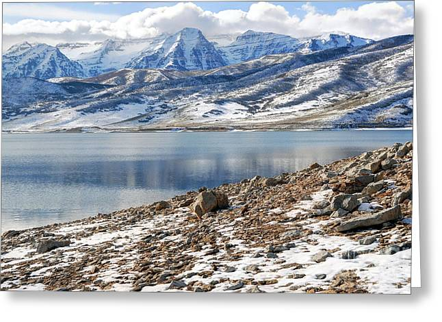 Winter Mt. Timpanogos And Deer Creek Reservoir Greeting Card by Gary Whitton
