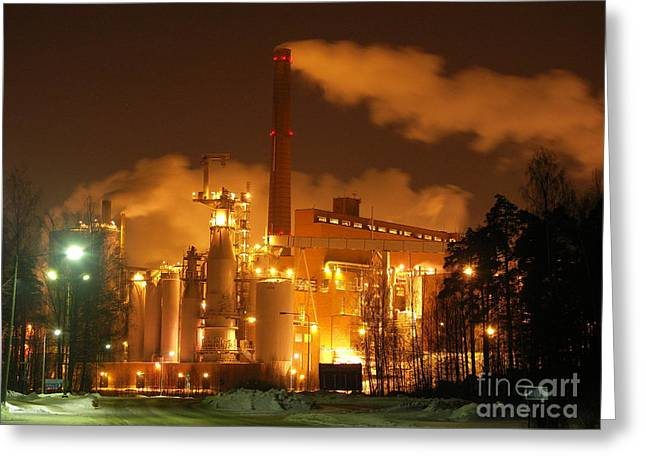 Winter Night At Sunila Pulp Mill Greeting Card