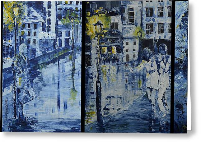 Winter Night In The City Greeting Card by Roni Ruth Palmer