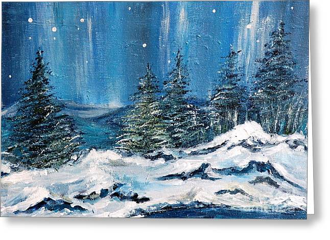 Winter Night Greeting Card by Teresa Wegrzyn