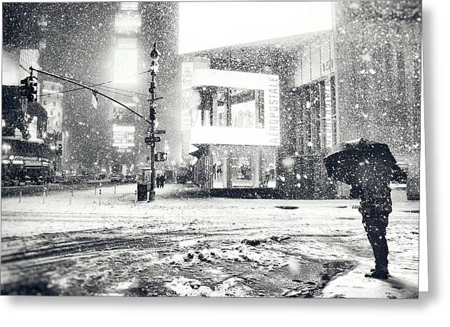 Winter Night - Times Square - New York City Greeting Card by Vivienne Gucwa