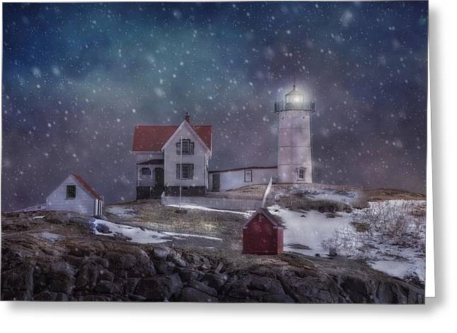 Winter Nights At Nubble Light Greeting Card
