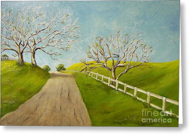 Greeting Card featuring the painting Winter Oaks by Terry Taylor