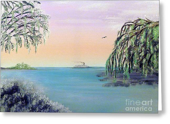 Winter On Lake Ponchartrain Greeting Card by Alys Caviness-Gober