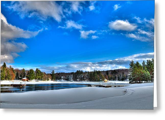 Winter On Old Forge Pond Greeting Card by David Patterson