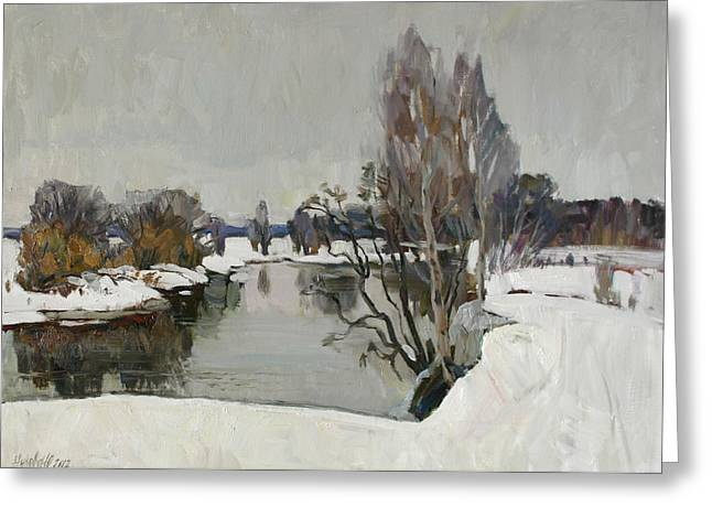 Winter On River Kliazma Greeting Card
