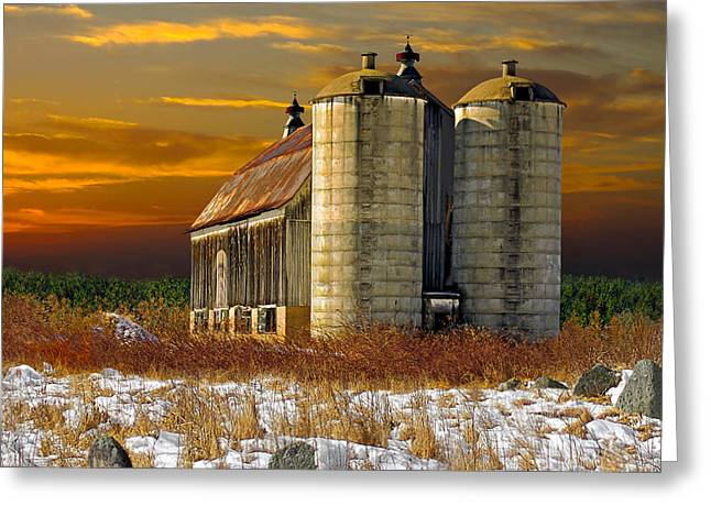 Greeting Card featuring the photograph Winter On The Farm by Judy  Johnson