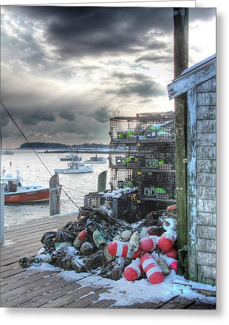 Winter On The Lobster Wharf Greeting Card