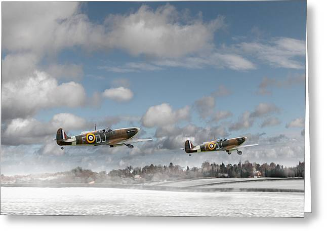 Winter Ops Spitfires Greeting Card by Gary Eason
