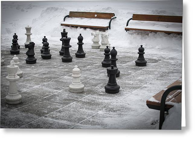 Winter Outdoor Chess Greeting Card by Andreas Berthold