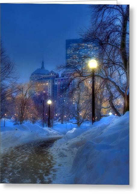 Winter Path - Boston Public Garden Greeting Card
