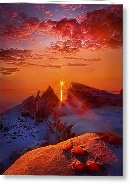 Winter Peaks Greeting Card by Phil Koch