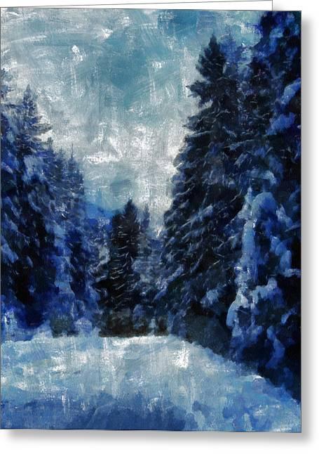Winter Piny Forest Greeting Card by Georgi Dimitrov