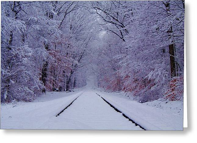 Winter Rails Greeting Card