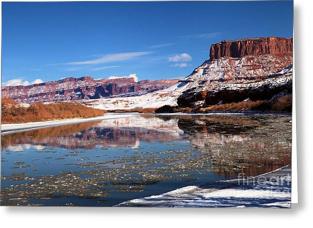 Winter Red Rock Reflections Greeting Card