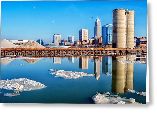 Winter Reflections Of Cleveland Ohio Greeting Card