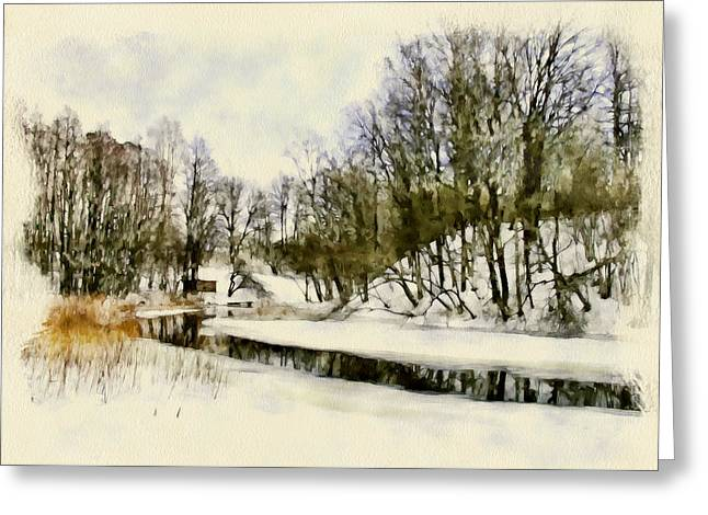 Winter River In Lithuania Greeting Card