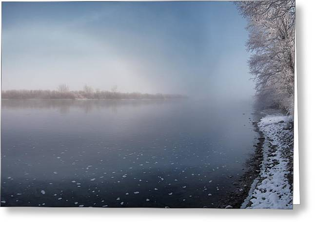 Winter River Light Greeting Card by Leland D Howard