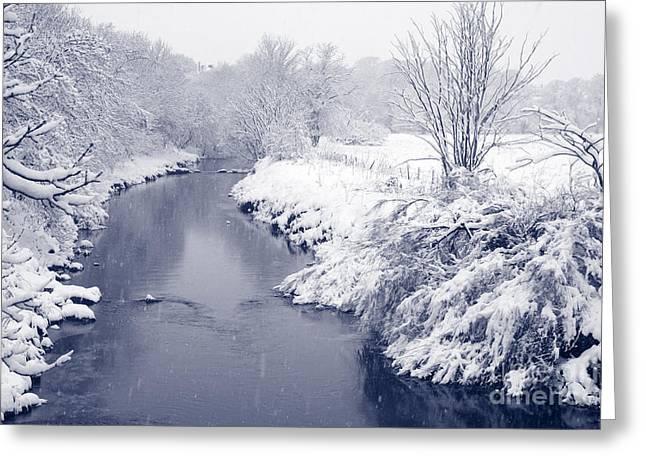 Winter River Greeting Card by Liz Leyden