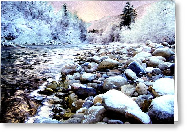 Busybee Greeting Cards - Winter River Greeting Card by Sabine Jacobs