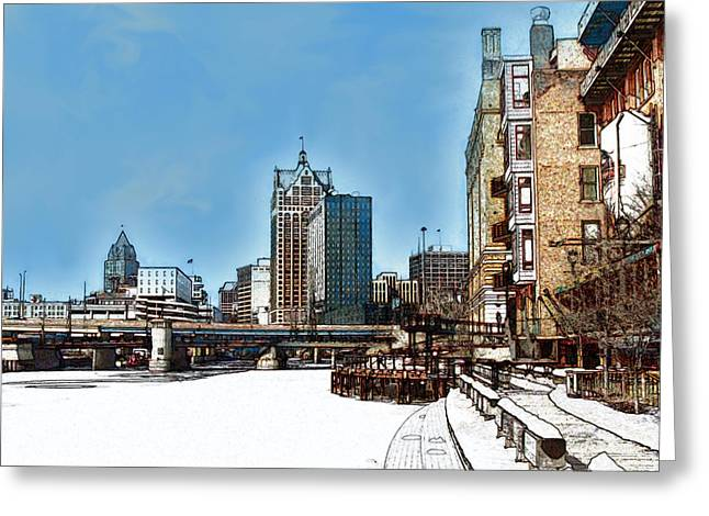 Winter River Walk In Milwaukee Wisconsin Greeting Card by David Blank