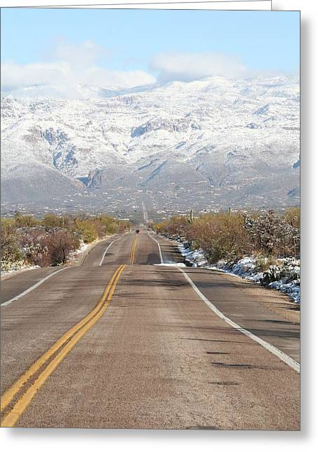 Winter Road Greeting Card by David S Reynolds