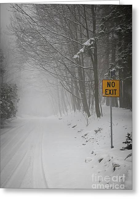 Winter Road During Snowfall I Greeting Card