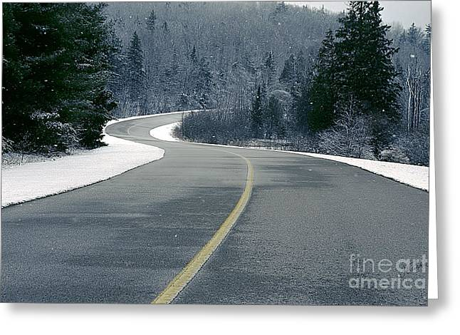 Winter Road Greeting Card by Jessie Parker