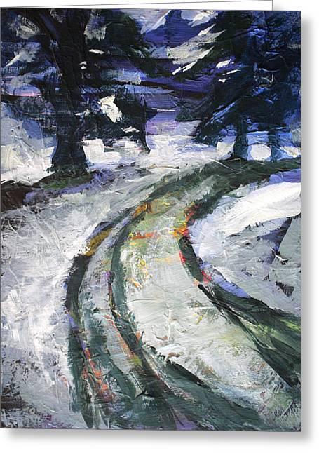 Winter Road Greeting Card by Nancy Merkle