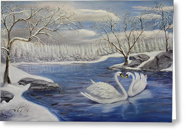 Winter Romance Greeting Card by Lou Magoncia
