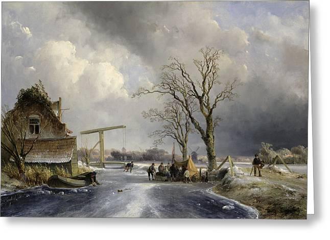 Winter Scene, 1846 Greeting Card by Johan-Barthold Jongkind