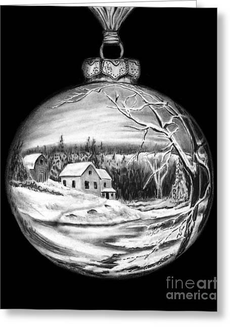 Winter Scene Ornament Greeting Card by Peter Piatt
