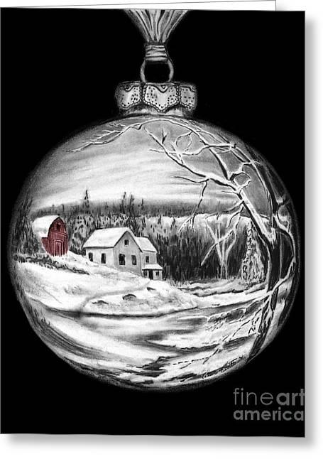 Winter Scene Ornament Red Barn  Greeting Card by Peter Piatt