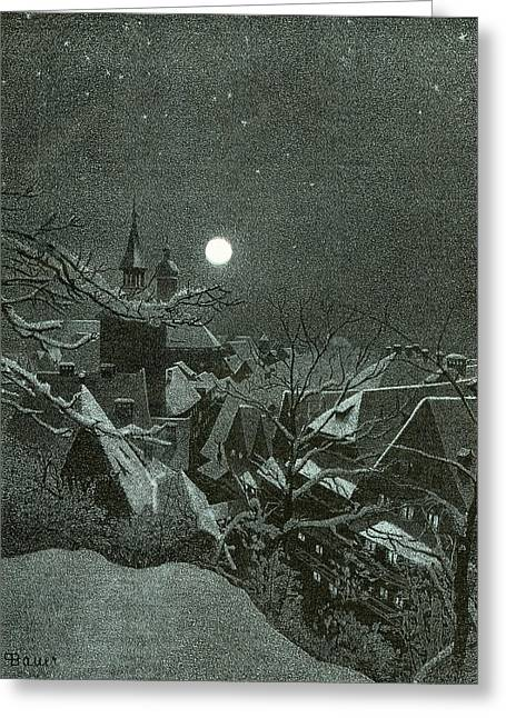 Winter Scene Over The Rooftops Greeting Card
