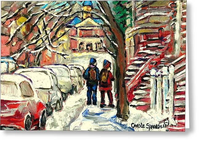 Winter Scene Painting Rows Of Snow Covered Cars First School Day After Christmas Break Montreal Art Greeting Card by Carole Spandau