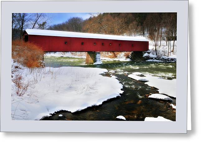 Winter Scene-west Cornwall Covered Bridge Greeting Card