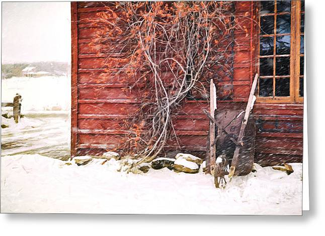 Winter Scene With Barn And Wheelbarrow/ Digital Painting  Greeting Card by Sandra Cunningham