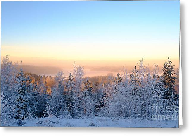 Winter Scenery Of The Lake Hiidenvesi Greeting Card