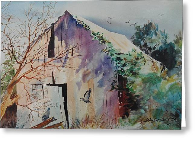 Greeting Card featuring the painting Winter Shadows by John  Svenson