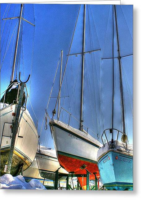 Winter Shipyard Greeting Card