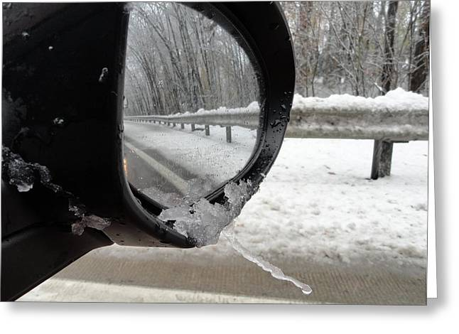 Greeting Card featuring the photograph Winter Side View Mirror by Mary Beth Landis